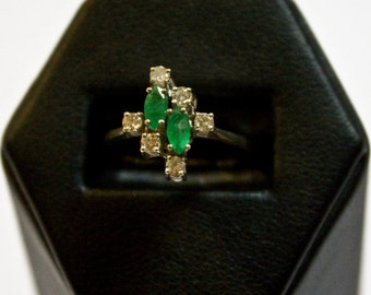 White Gold Ring of Diamonds and Emeralds