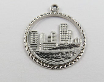 Water View of Edmonton Alberta Canada Sterling Silver Charm or Pendant.