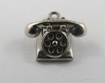 Sterling Silver Charm of an Old Style Rotary Telephone.