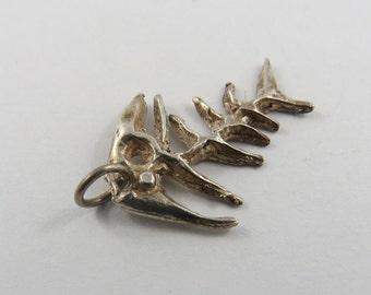 Fish Bones Sterling Silver Charm or Pendant.