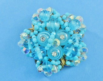 Vintage Wired Caribbean Blue Spun Glass and AB Crystal Beads Brooch Pin