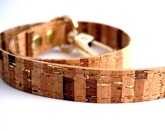 3 cm/ 1.18 inches wide/ Price per strap- Striped CORK straps handles with Gold details with hooks, gold cork purse straps