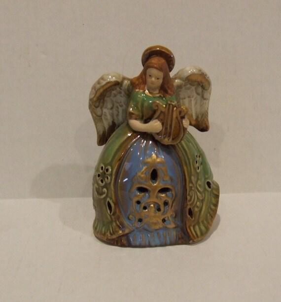 Christmas Angel Angel Figurine Angel Playing Harp Porcelain