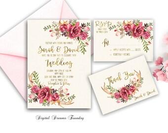 Floral Wedding Invitation Suite Printable Boho Wedding Invitation Rose Wedding invitation Antler wedding Romantic Spring Wedding Invitation
