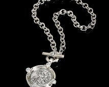 Solid Sterling Silver Necklace/Toggle Closure/CZ's/Lakshmi Pendant.