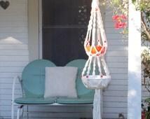 White Macrame Hanging Planter Orange Beading