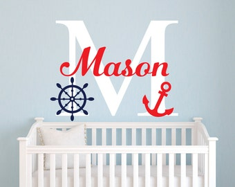 Nautical Name Wall Decal - Nautical Wall Decal - Little Sailor Room Decor - Custom Name Wall Decal - Nursery Wall Decal - Anchor Wall Decal