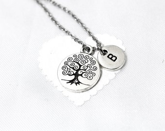 Family Tree Necklace, Tree-of-Life Pendant, Long Pendant Necklace, Tree Jewelry, Personalized Initial Necklace, Initial Charm, Monogram
