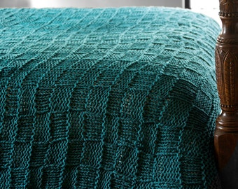Chunky Wool Blanket in Dark Teal, Large Blue Green Afghan, Knit Bed Runner or Foot Warmer, Coverlet or Sofa Throw, FREE SHIPPING in US