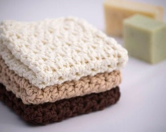 Washcloth Gift Set for Her, 100% Cotton Facecloths in Brown, Tan and Cream, Inexpensive Housewarming Gift in Earth Tones