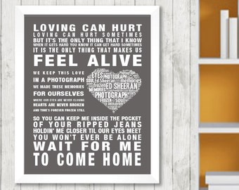 Ed Sheeran Photograph Music Love Song Lyrics Word Art Print Poster Heart Design Wall Decor Framed Picture Memorabilia Gift Free UK Postage