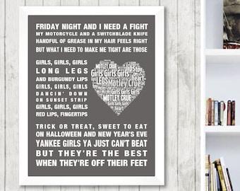Motley Crue Girls Girls Girls Music Song Lyrics Word Art Print Poster Heart Design Wall Decor Framed Picture Memorabilia Gift Free UK Post