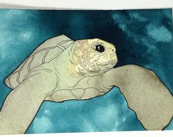 Sea Turtle Wall Art, Sea Turtle Decor, Sea Turtle Watercolor, Sea Turtle Painting, Ocean Painting, Original Watercolor Art, Original Artwork