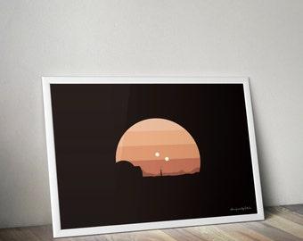 Star Wars Planets Minimal Posters (Tatooine)