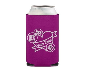 Custom Tattoo Heart Coolie - Can Cooler - Can Sleeve - Beverage Cooler
