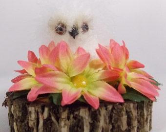 White Fluffy Owls, Woodland Decor, Autumn Decor, Woodland Owls, Woodland Birds, Rustic Home Decor