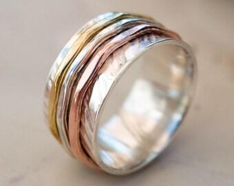 Spinner ring, Three bands spinners ring, Spinner ring, Anxiety ring ,Fidget ring , Meditation ring , sterling silver ring, Elegant spinner