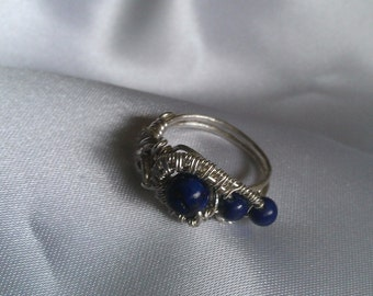 sterling silver ring , wire wrapped ring, lapis lazuli ring , handmade jewelry