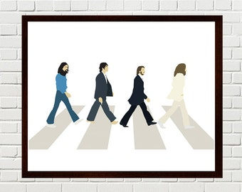Beatles Art, Abbey Road Art Print, Beatles Wall Art, Minimalist Portrait, Abbey Road Poster