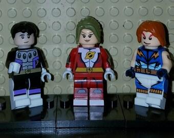 Legion of Superheroes Set Of 3 DC Minifigures Cosmic Boy Saturn Girl Lightning Lad (LEGO Compatible)