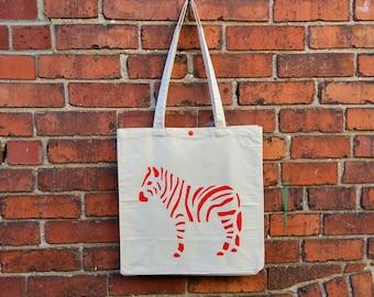 Canvas Tote Bag, Zebra, Reusable Shopping Bag, Eco Friendly Bag