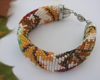 Rope beaded bracelet Maple leaves pattern Autumn bracelet Bead Embroidery Crochet bracelet Beaded bracelet Christmas gift