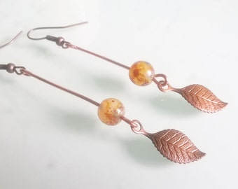 Copper leaf autumn earrings