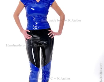 C + K Imitation leather or PVC trousers, 2-coloured, with side-zipper, very shiny and stretchy, handmade, new