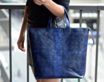 Genuine Embossed Leather Tote, Large Leather Tote Bag, Blue Leather Bag, Leather Shopper, Leather Tote, Snake Pattern Bag