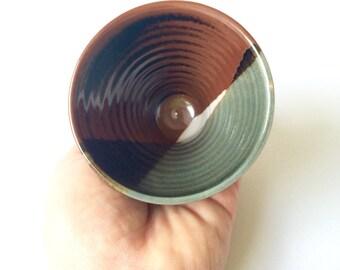 Unique handmade tea mug celadon tenmoku #EarthandClays