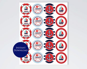 Ahoy It's a Boy cupcake toppers, 16 count, PDF File, Instant Download
