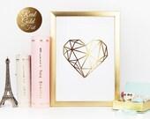 Real Gold Foil Print, Heart Print, Gold Foil, Wall Art, Gold Foil Decor, Gold Wall Art, Home Decor, Minimalist Poster, Love Print.