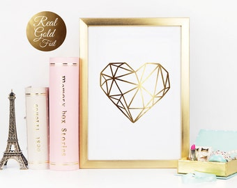 Real Gold Foil Print, Heart Print, Gold Foil, Wall Art, Gold Foil Decor, Gold Wall Art, Home Decor, Minimalist Poster, Love Print.