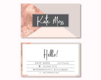 Business Card Design, Premade Business Card Template, Geometric, Lines, Modern, Minimal, Elegant Business Card, Rose Gold Business Card