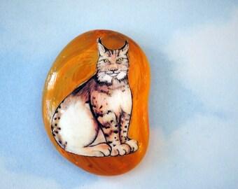 Lynx Stone-  Animal Totem, Pocket Stone, Spirit Animal, Lynx Gift, Original Artwork,  Big Cat Drawing, FREE SHIPPING