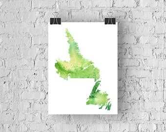 Newfoundland & Labrador Watercolour Map - Giclée Print of Hand Painted Original Art - 5 Colours to Choose From
