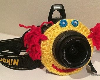 Crochet smiling face lens critter, camera buddies, camera lens buddy, toys, photographer helper.