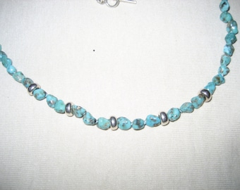 Turquoise and Shell Necklace, Sterling Silver