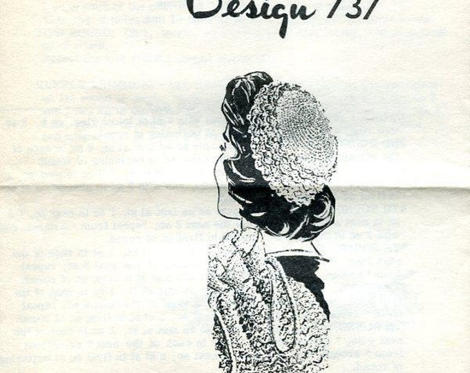 FREE US SHIP 1960's Mail order 737 Crocheted Crochet Hat and Bag Tote Purse Set Large 1 page Leaflet  Vintage 60s