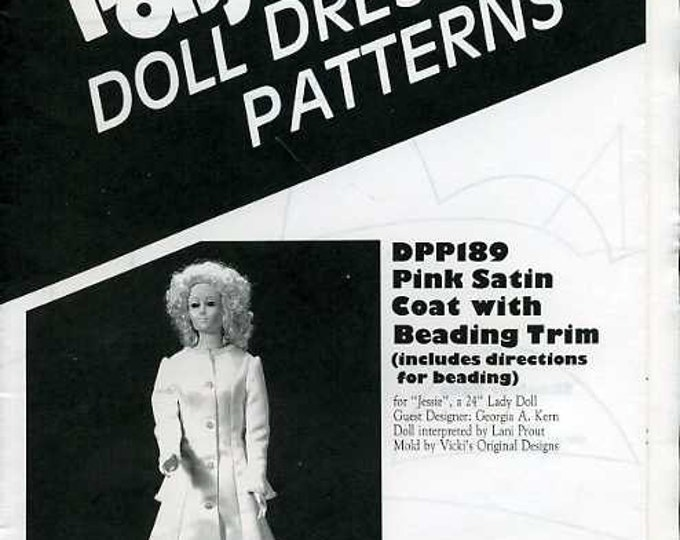 "FREE US SHIP Poissot Doll Dress Retro 1990's dpp189 Pink Satin Coat bead trim 24"" Sewing Pattern Insert From Dollcrafter Vintage Magazine"