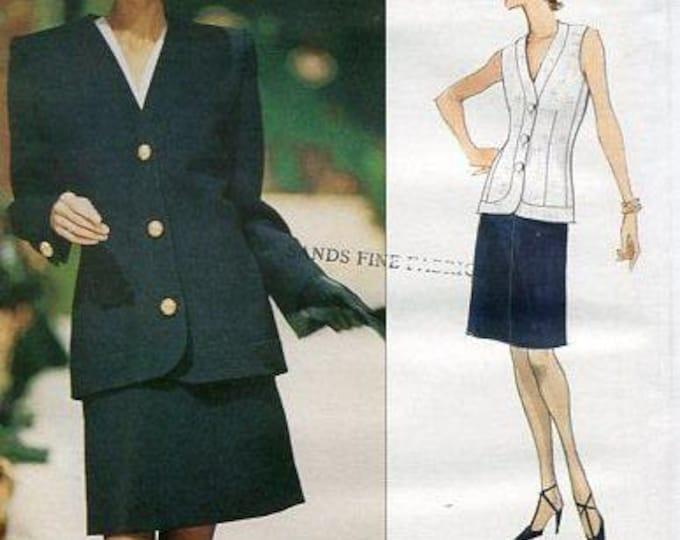 Free Us Ship Sewing Pattern Vogue 1735 Designer Givenchy Suit Jacket Skirt Vest 1996 Size 8 10 12 Bust 31.5 32.5 34 Retro 1990s 90's Uncut