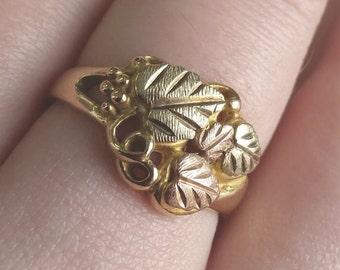 Yellow Gold Ring Leaf Vine Design 10k Size 7