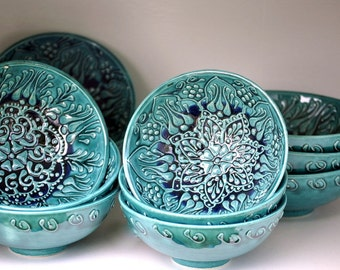 TEAL Ombre Colored Ceramic Bowls HAND-MADE and Hand-Painted with Moroccan Bohemian Henna Designs for Home Decor