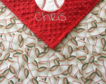 Baseball Baby Blanket, Baseball Minky Blanket, Red Minky Blanket, Baseball Theme, Baseball Baby Shower Gift, Personalized Baby Blanket