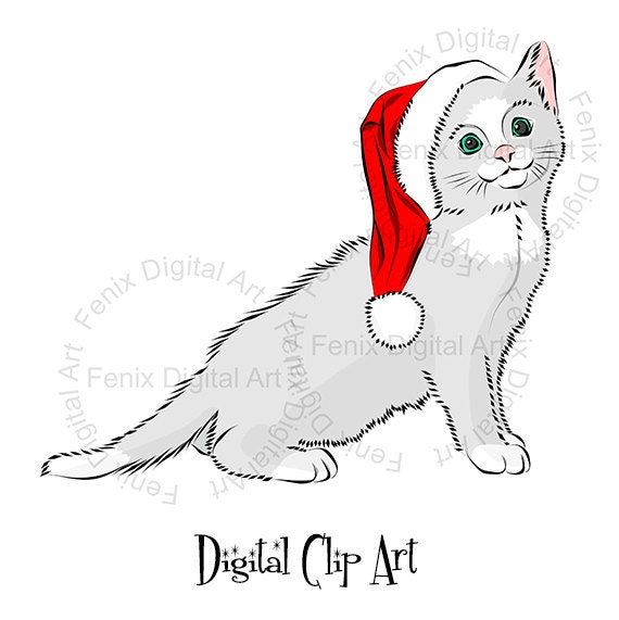 Christmas cat Clipart,Cat,Kitty,Kitten graphics,Art print,Planner clipart, Planner Stickers,Illustration INSTANT DOWNLOAD