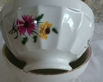 Small French Café au Lait, Vintage Gien Breakfast Bowls, Small Coffee Bowls,