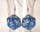 D20 Blue Sparkle Dice Earrings