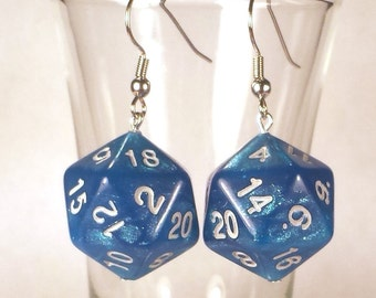 D20 Blue Sparkle Dice Earrings