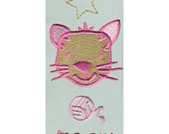 Meow Cat and String Embroidery Design - Instant Digital Download