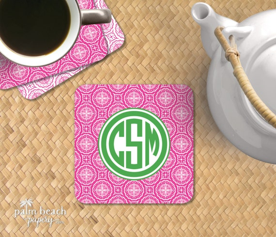 Home Decor Hostess Gifts: Sunburst Paisley Paper Coasters Monogrammed Disposable Drink